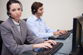 Two call center operators — Stock Photo