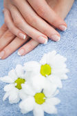 French manicured fingers at spa center — Stock Photo