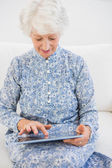 Elderly focused woman using a digital tablet — Stock Photo