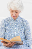 Elderly focused woman reading a old novel — Stock Photo