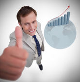 Businessman giving thumb up — Stock Photo