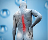 Digital figure with highlighted back pain — Stock Photo