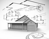 Big house in grey with architect plans — Stock Photo