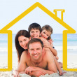 Family on the beach with yellow house illustration — Stock Photo