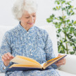 Stock Photo: Elderly happy womlooking at her family album