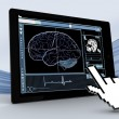 Cursor pointing to tablet showing brain interface — Stock Photo #24110363