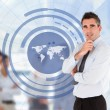Businessman with a world map illustration — Stock Photo #24110485