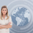 Businesswoman with a globe illustration — Stock Photo #24110697