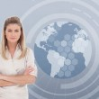 Businesswoman with a globe illustration — Stock Photo