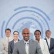Businessman with his team and globe illustration — Stock Photo