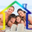 Family on a beach with colored house illustration — Stock Photo