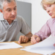 Mature couple discussing with documents — Stock Photo