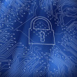 Digital lock on blue circuit board background - Foto Stock