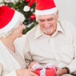 Elderly couple swapping christmas presents — Stock Photo #24111939
