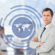 Salesman with a world map illustration — Stock Photo