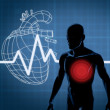 Mapping graphics heart and body — Stock Photo