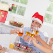 Family toasting at Christmas - Stock Photo