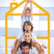 Family having fun with yellow house illustration — Stock Photo