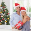 Happy couple at christmas — Stock Photo