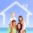 Family posing with a blurred house illustration — Stock Photo