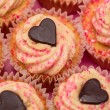 Stock Photo: Overhead of valentines cupcakes
