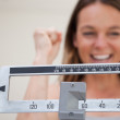 Scale showing weight loss — Stock Photo