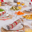 Christmas dinner table — Stock Photo