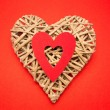 Wicker heart ornament - Stock Photo