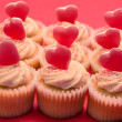 Valentines cupcakes with love hearts - Stock Photo