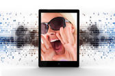 Tablet computer displaying picture of woman — Stock Photo