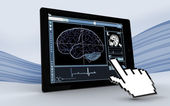 Cursor pointing to tablet showing brain interface — Stock Photo