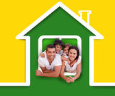 Happy family in the green house illustration — Stock Photo