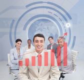 Digital screen showing the red graph to a business team — Stock Photo