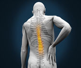 Digital skeleton having pain on his back — Stock Photo