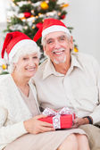 Smiling old couple swapping christmas gifts — Stock Photo