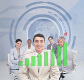 Digital screen showing the green graph to a business team — Stock Photo