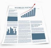 El periódico financiero llamado noticias del mundo con gráficos — Foto de Stock