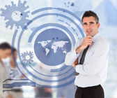 Salesman with a blue world map illustration — Stock Photo