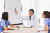 Doctor showing nurses plan — Stock Photo