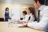 Happy businesswoman giving presentation — Stock Photo