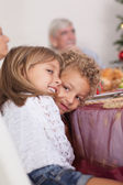 Siblings joking with each other at christmas — Stock Photo