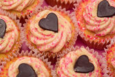 Overhead of valentines cupcakes — Stock Photo
