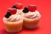 Tasty valentines cupcakes — Stock Photo