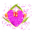 Four tulips in a heart shape with confetti - Stok fotoraf