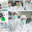 Collage of laboratory workers — Stock Photo