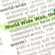 World Wide Web definition highlighted in green — Stock Photo