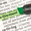 Foto Stock: Retirement definition highlighted in green