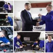 Collage of mechanics at work with happy customer - Stock Photo