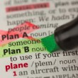 Plan B definition highlighted in green with Plan A marked - Stock Photo