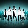 Illustration of doctors standing arms crossed - Stock Photo